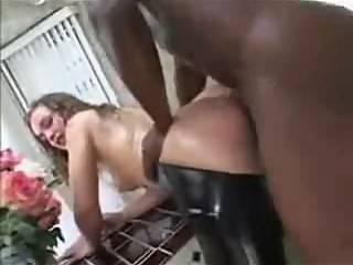 Black Stud Fucks White girl in Latex Chaps
